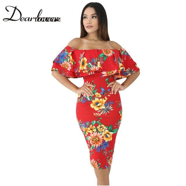 2904c943 Dear lover Off Shoulder Ruffle Midi Dress 2017 New Sexy Bodycon Midi Party  Dress LC61611 Orange Black White Floral Print