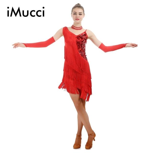 iMucci Red Paillette Tassel Latin Dance Dress Woman Fringe Samba ...