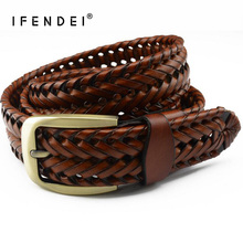 IFENDEI Genuine Leather Belt Buckle For Men Women High Quality Handmade Knitted Women's Leather Belts Black cinto feminino couro