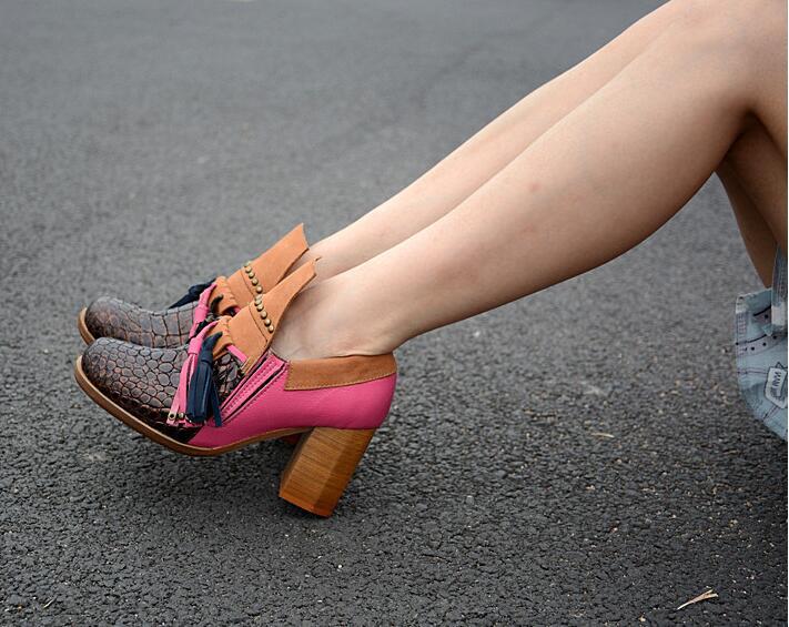 Talon Sur Printemps Chaussure Mixte Britannique En Couleur Automne Carré Pompes Rivet Femmes Glisser Rose Véritable Cuir Perfetto Prova rouge Glands Martin Style qTnOxgZCHw