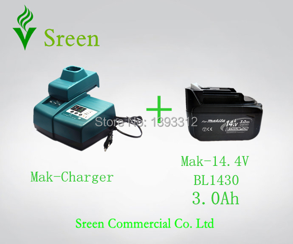 New BL1430 3.0Ah Lithium Ion Battery Packs with Universal Rechargeable Power Tool Battery Charger Replacement for Makita 14.4V 5000mah rechargeable lithium ion replacement power tool battery packs for makita 18v bl1830 bl1840 bl1850 lxt400 194205 3 p25