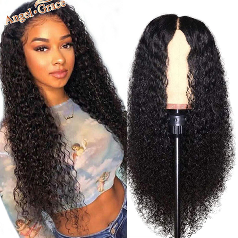 Angel Grace Brazilian Kinky Curly Human Hair Wigs 13x4 Lace Front Wigs 180 250 Density Remy