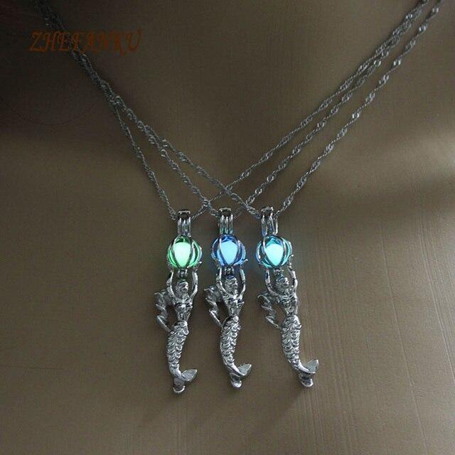b33a2abe188e 1 unids encanto fuego piedra sirena Colgantes para mujeres regalo brillante  plata color lleno joyería animal