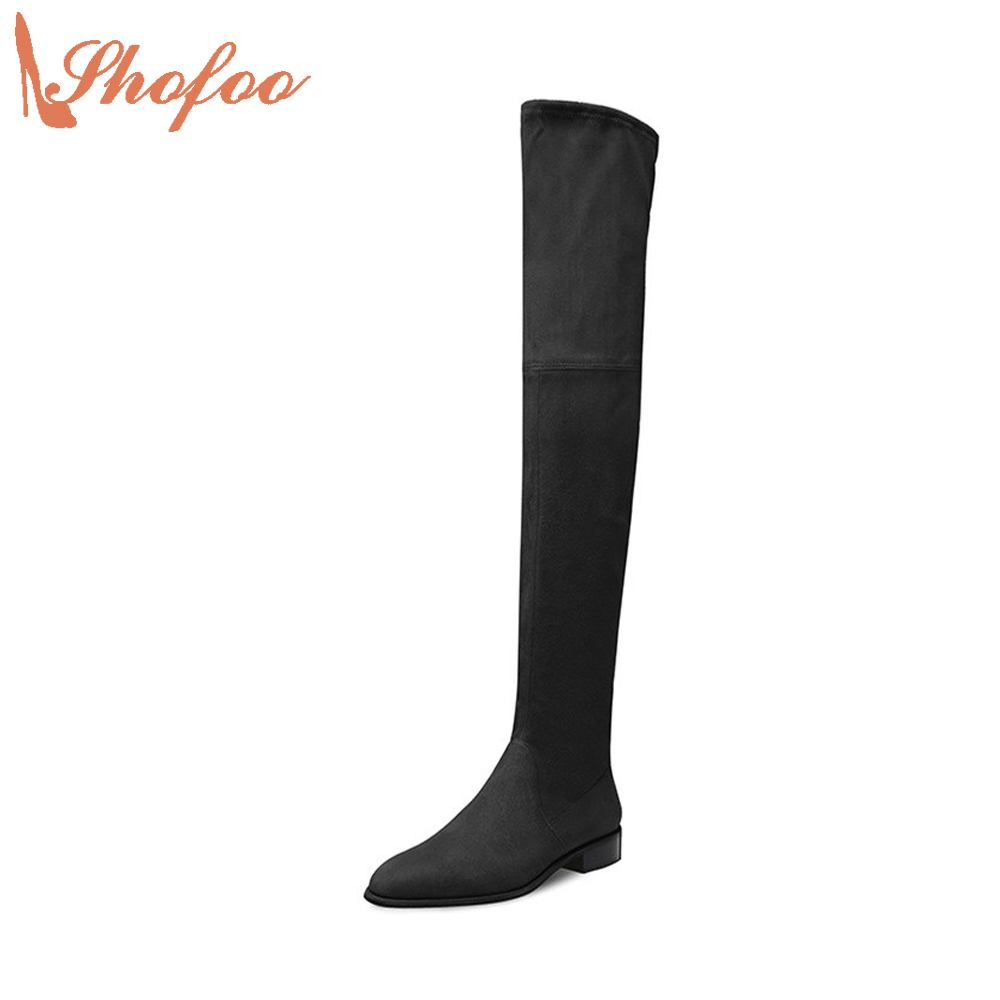 Shofoo Black Fashion Boots Women Round Toe Low Heel Over-the-Knee High Dress&Party&Office Shoes With Zipper , Plus Size 4-16. 2017 autumn fashion black genuine leather chunky heels round toe dress office career zip square heel shoes chaussure shofoo