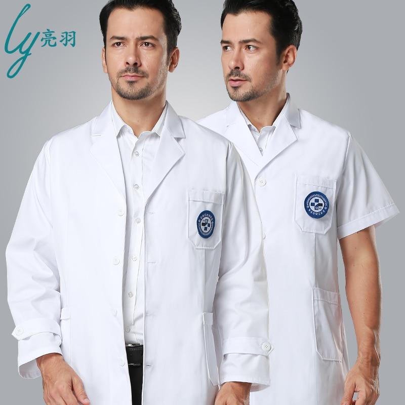 2019 New arrival hospital clinic white medical clothing for man long sleeve medical uniform lab coat