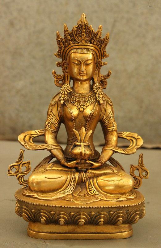 Tibet Tibetan Temple Bronze Gilt Amitayus Longevity God Goddess Buddha Statue statue
