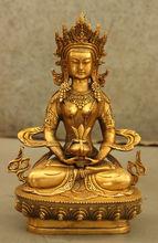 Тибет Тибетский Храм Бронзовый Свинка Амитаюс Долголетие Бог Богиня Статуя Будды металла ремесло