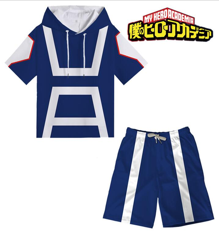 Unisex Mens Womens Boku no My Hero Academia Summer T-shirt Hoodie Shorts Couple Sportswear Halloween Costume Cosplay Set Suit image