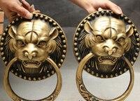 Chinese Bronze Evil Spirits Tiger Head Statue Valve Ring Door knocker Gate Pair Sculpture statues unicornio garden decoration