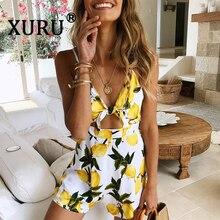 XURU Summer New Print Jumpsuit Shorts Sexy Sling Bandage Bow Holiday