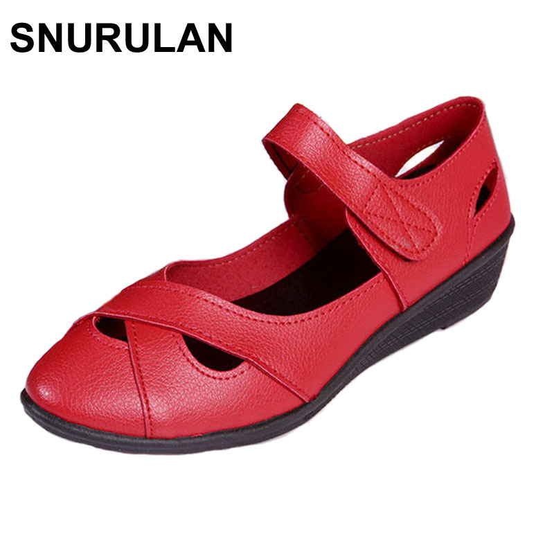 SNURULAN Summer cutout women's shoes Genuine leather flat sandals fashion female sandals soft outsole comfortable mother shoes summer mother shoes woman genuine leather soft outsole open toe sandals casual flat women shoes 2018 new fashion women sandals