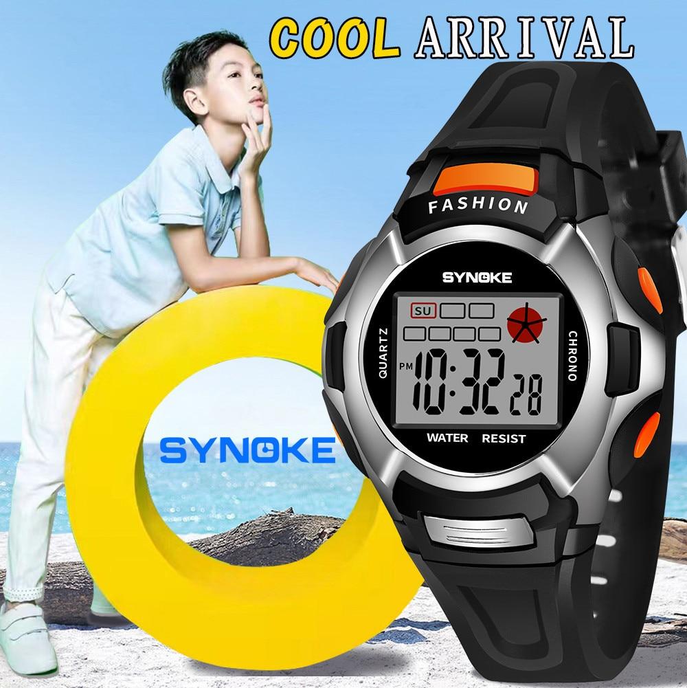 Children Watches  LED Digital Double Action Wrist Sports Kids Watch Boys Girls 3Bar Waterproof Bracelet Alarm Luminous F424