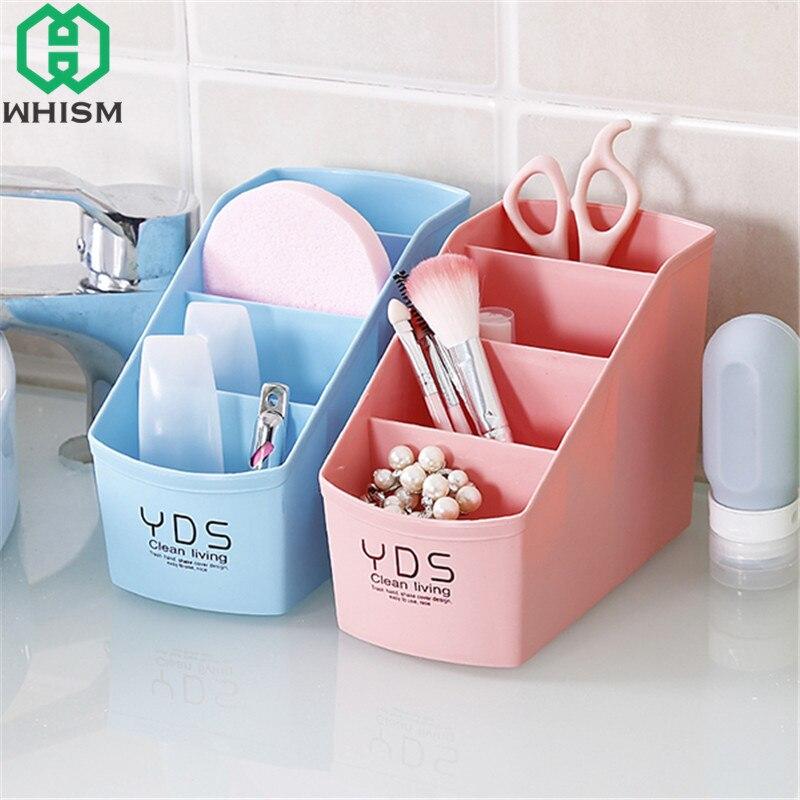 WHISM Plastic Storage Box Makeup Organizer Desktop Pen Holder Table Pencil Case Cosmetic Container maquillage organisateur boite
