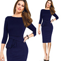 New Fashion O-Neck Knee-Length Stretch Sheath Bodycon Tunic Elegant Formal Business Party Women Work Wear Office Pencil Dress