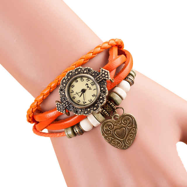 Women Watches Heart Pendant Leather Bracelet Watch Women Dress Vintage Quartz An
