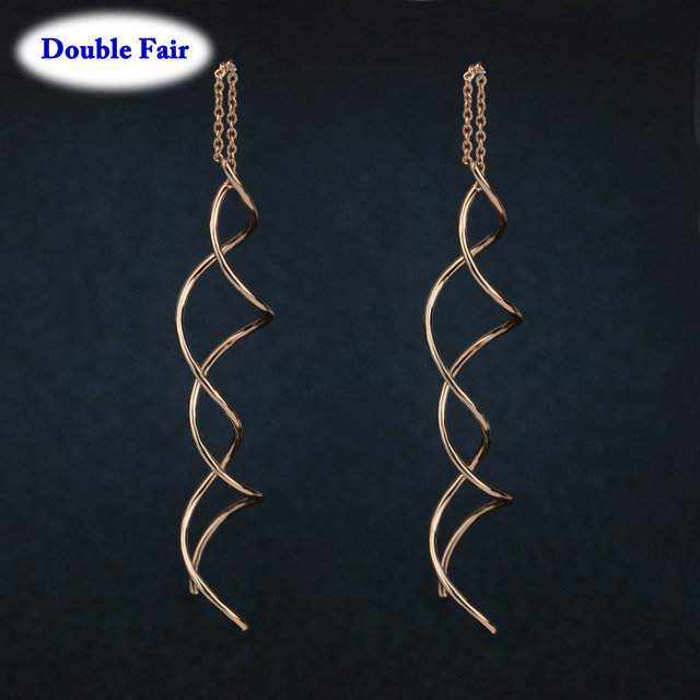 Unique Twisted Bar Long Line Chain Earrings Silver Rose Gold Color Fashion Drop Dangle Earring Jewelry.jpg 640x640 - Unique Twisted Bar Long Line Chain Earrings Silver/Rose Gold Color Fashion Drop/Dangle Earring Jewelry Ear Cuff For Women DWE243