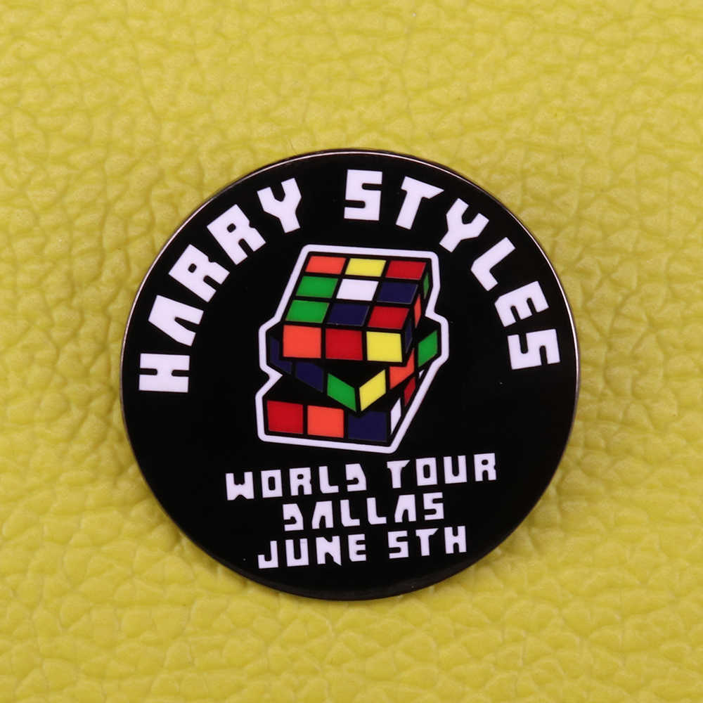 Harry Styles Enamel Pin Pelangi Kubus Rubik Bros Gay Pride Lencana LGBT Wanita Perhiasan Hadiah Tur Musik Pin Pria kemeja Jaket AC