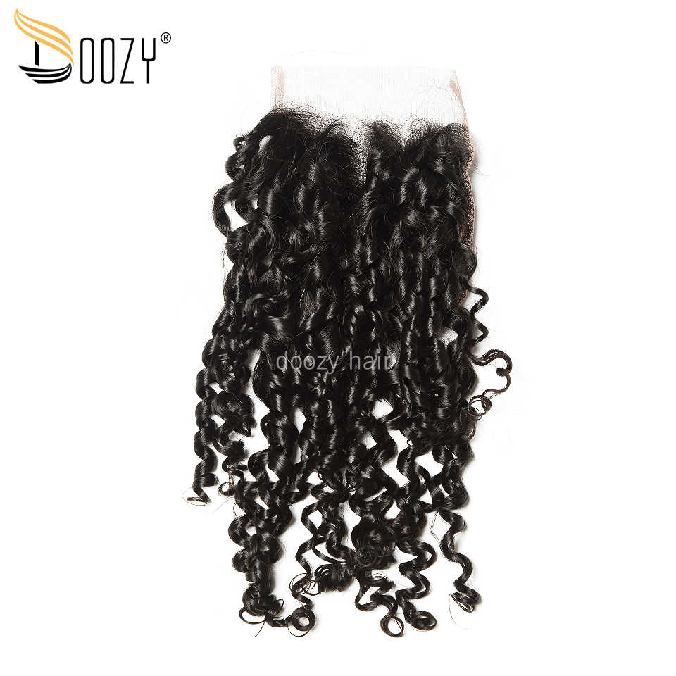 Doozy Natural Color Super Double Drawn Brazilian Virgin Hair Pixie Curly Funmi Virgin Human Hair 3 Bundles With Lace Closure