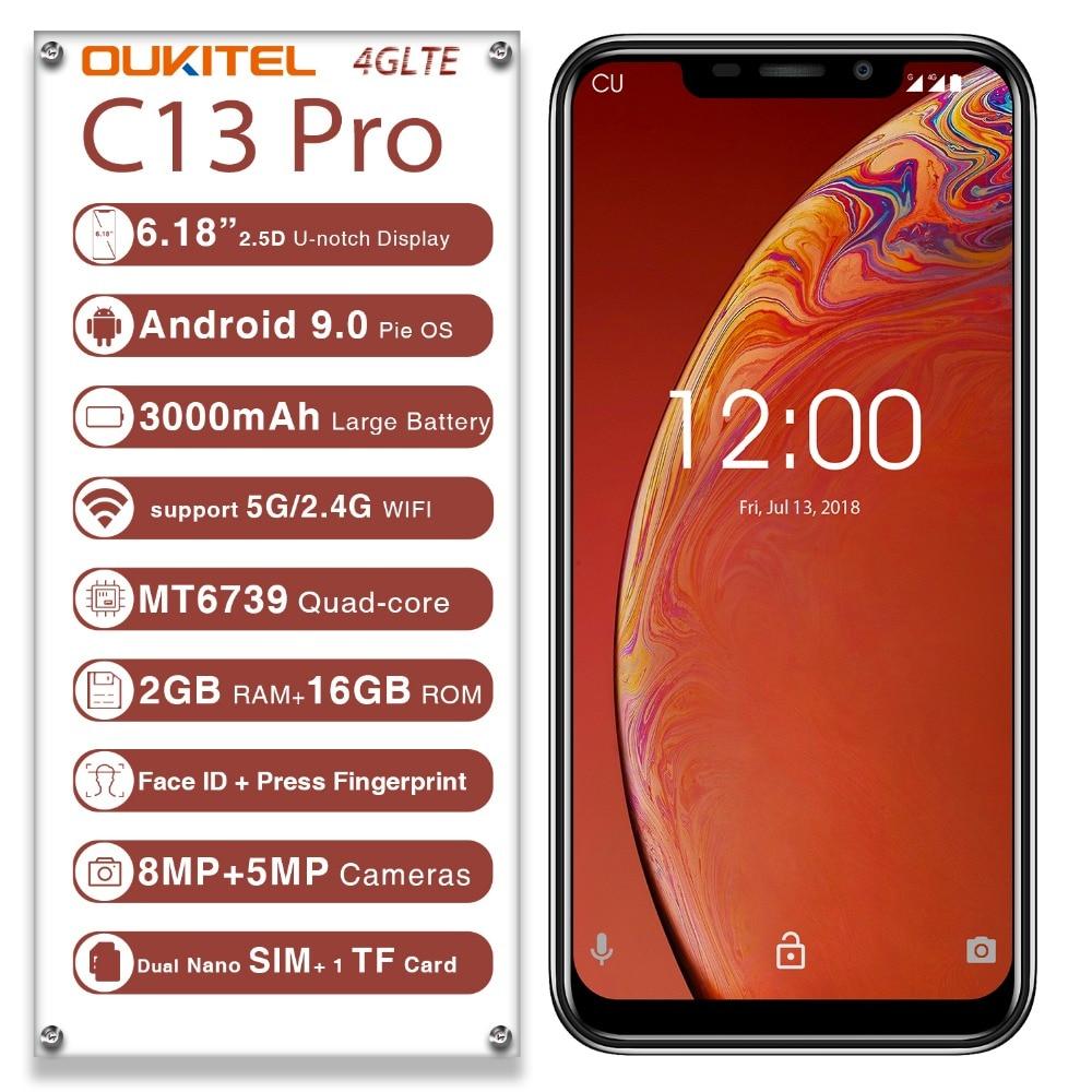 OUKITEL C13 Pro 6.18 pouces 5G/2.4G WIFI 4G LTE Smartphone empreinte digitale visage 2 GB + 16 GB Android 9.0 téléphone portable MT6739 Quad Core