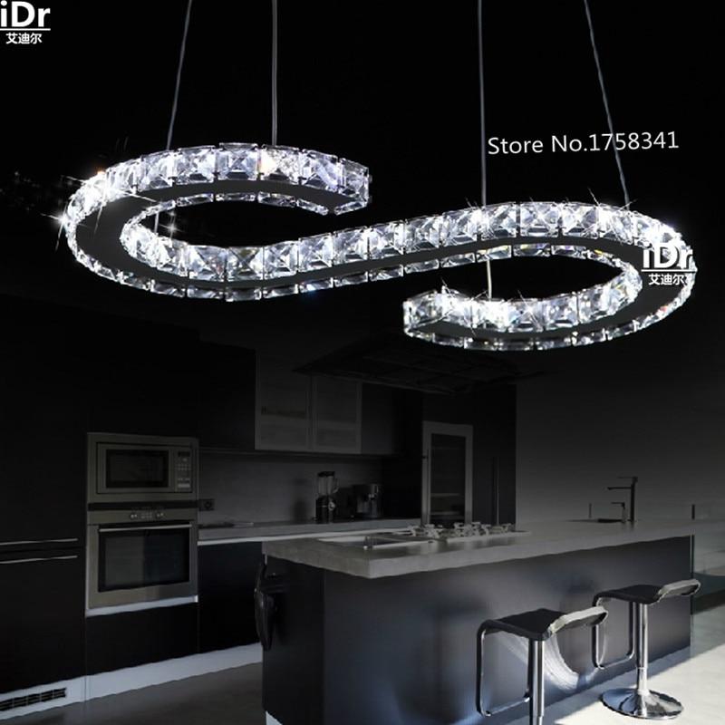 Moda a forma di S LED lampadario di cristallo in acciaio inox soggiorno lampada da letto lampada ristorante minimalista lampadeModa a forma di S LED lampadario di cristallo in acciaio inox soggiorno lampada da letto lampada ristorante minimalista lampade