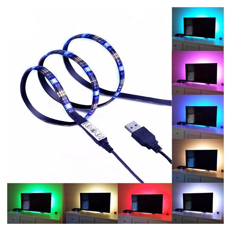 Étanche USB 5 v RGB LED Bande Lumière lampe 5050 SMD 1 m 2 m 3 m Réglable couleur TV fond mur Coloré Point Culminant Offre Spéciale M4