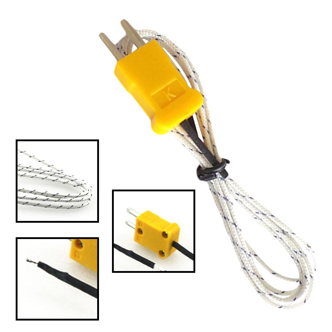 92cm Cable K Type Thermocouple Temperature Measuring Probe Sensor White k type probe m6 x 5mm temperature sensor cable silver 197cm
