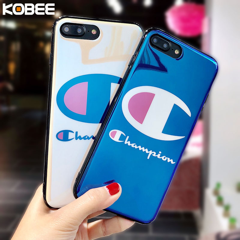 finest selection 0a2a8 6ad62 US $3.79 |KOBEE Blu Ray Soft Silicon Cover For iphone X 10 8 8plus 7 7plus  6 6 S plus Case Fashion Japan USA Champion Brand Phone Case-in Fitted Cases  ...