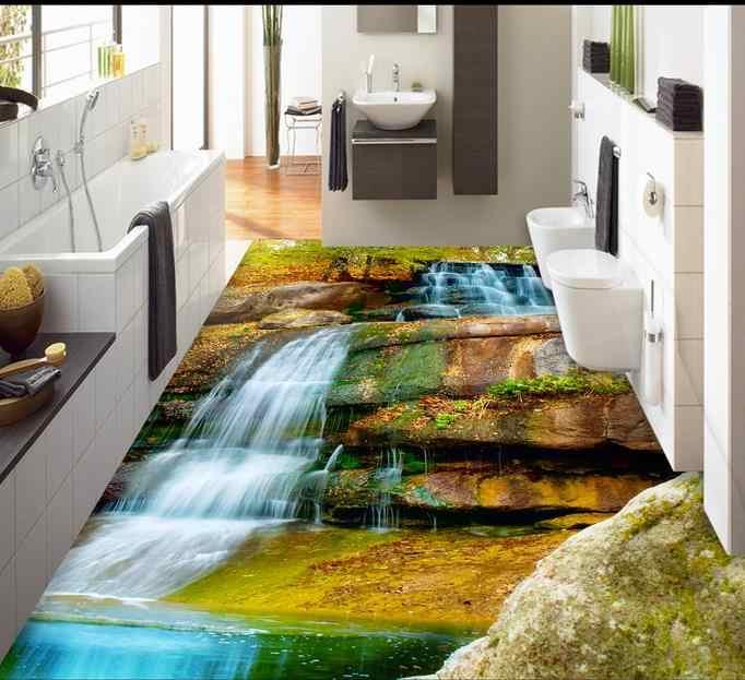 3d lantai pvc tahan air wallpaper kustom 3d lantai air terjun lotus ikan mas diri perekat mural wallpaper 3d ubin lantai