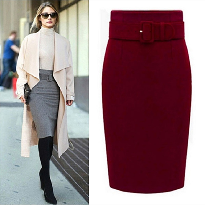 New 2016 Fashion Autumn Winter Style Cotton Plus Size High Waist Saias Femininas Casual Midi Pencil Skirt Women Skirts B9517