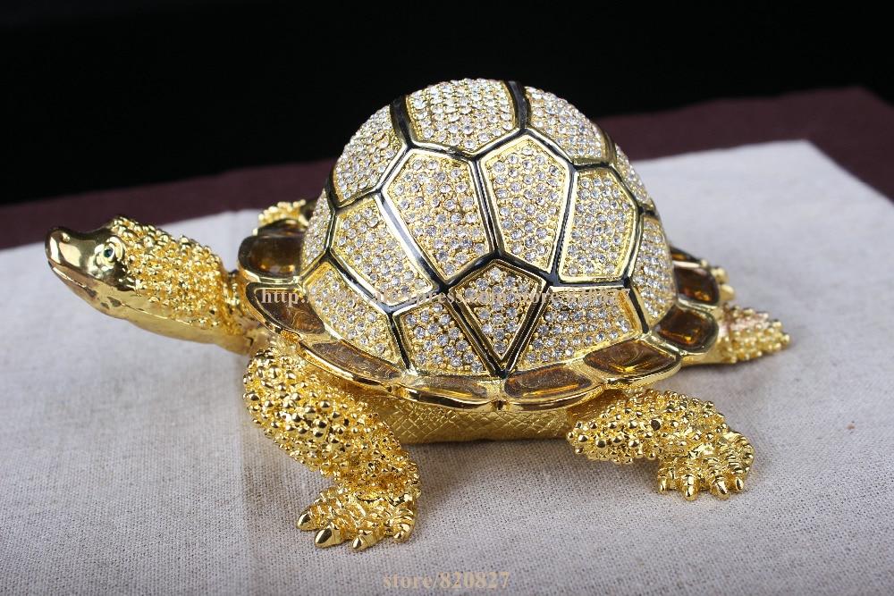 8a1c50bc25e90 حجم صغير سلحفاة turtoise مرصع بالجواهر الراين كريستال المجوهرات حلية مربع  حامل المجوهرات خمر المجوهرات مربع السلاحف السلاحف