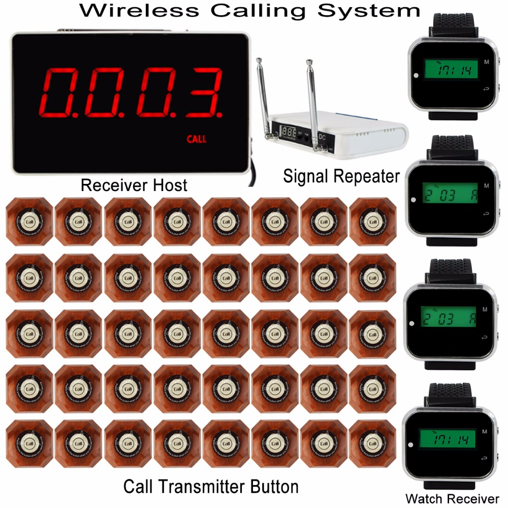 Wireless Calling System with Receiver Host +4pcs Watch Wrist Receiver +Signal Repeater +40pcs Call Transmitter Button Pager wireless service call bell system popular in restaurant ce passed 433 92mhz full equipment watch pager 1 watch 7 call button
