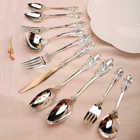 10pcs/set Western Luxury Silver Cutlery set Steak Dinner set Retro Table Knife Fork Spoon Teaspoon Wedding Silverware Flatware