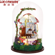 Doll House Furniture DIY Home Handmade House Glass Assemble Wooden Miniature Moulin Colors Mushroom Cute Toys for Children