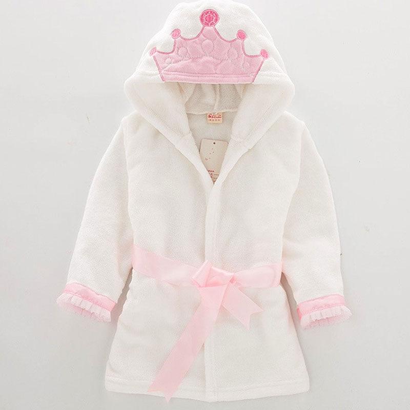 Fashion Baby Boy Girl Bathrobe Children's Flannel Crown Bathrobe Baby Boys Girl Robes Baby Hooded Bath Towel Kids Pajamas 1