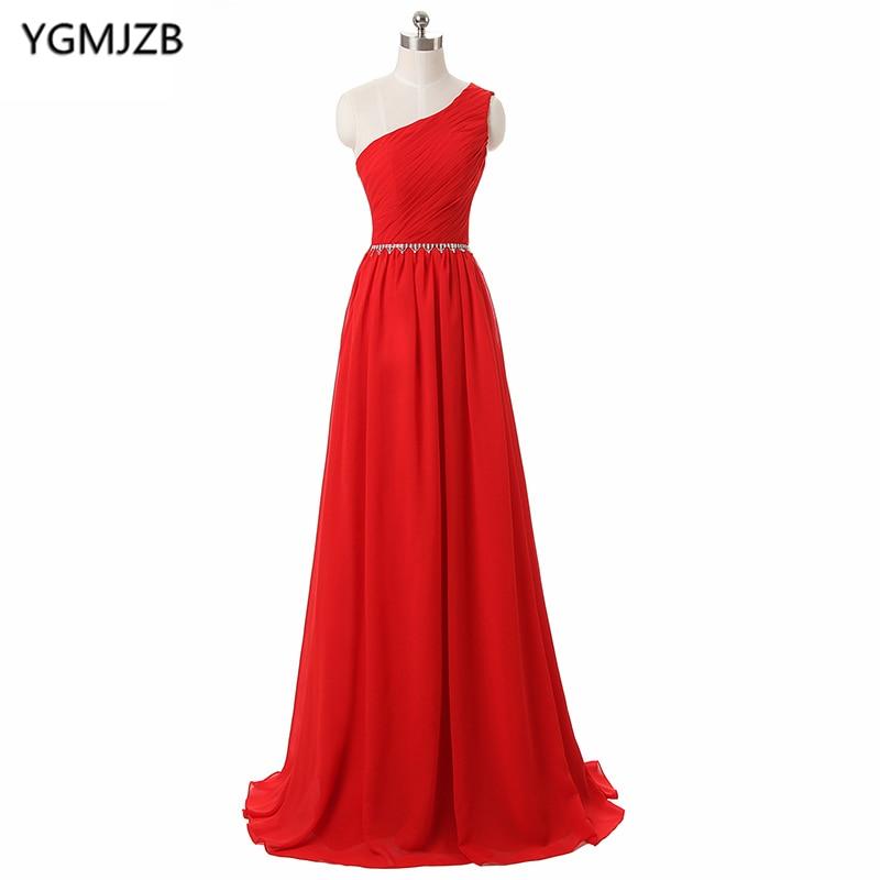 Cheap Red   Bridesmaid     Dresses   2018 A Line One Shoulder Floor Length Chiffon Wedding Party   Dress   Beaded Sash Long   Bridesmaid     Dress