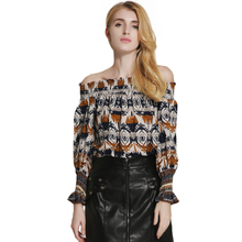 2017 Autumn New Arrivals Female Long Sleeve Slash Neck Casual Shirt Blouse Woman Boho Style Fashion Off-shoulder Cotton Shirts