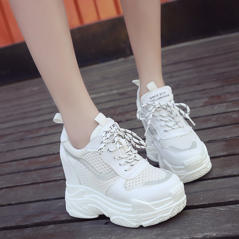 SWYIVY Casual Shoes Woman Sneakers Shallow Platform Women Sneakers 2019 Autumn Breathable Ladies Shoe Wedges Shoes For Women