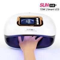 100-240 V ЖК-дисплей Дисплей авто-Сенсор Профессиональный Nail Art солнца H4 плюс 72 W 36 светодиоды УФ-лампы лампа для сушки ногтей польский гель сушил...