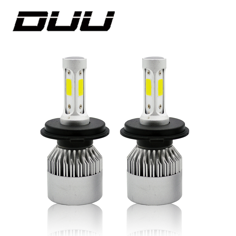 DUU H4 H7 H11 H1 H3 9005 9006 COB Car LED Headlight Bulbs Hi-Lo Beam 60W 8000LM 6500K Auto Headlamp Fog Light Bulb DC12v 24v Стикер
