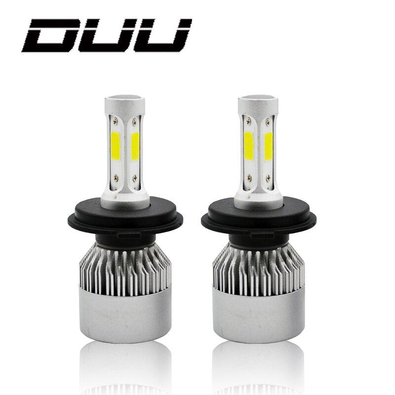 DUU H4 H7 H11 H1 H3 9005 9006 COB coche LED faros Hi-Lo haz 72 W 8000LM 6500 K Auto faro niebla bombilla DC12v 24 V