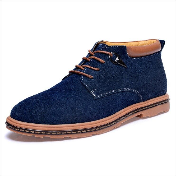 2018 Neue Stiefeletten Winter Hohe Männer Baumwolle Schuhe Casual Warme Baumwolle Stiefel Aus Echtem Leder Große Größe Britischen Männer Der Schuhe Neueste Mode