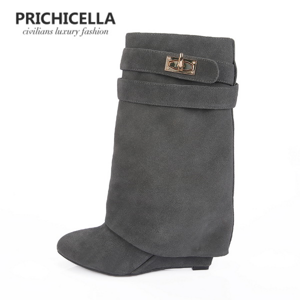 Moto Chaussons Suede Suede black Prichicella Vache Pointu Smooth Cuir Wedge Cheville Leater Verrouillage Noir Bottes Bout Print En Size34 42 grey Black Leather black 8m0Nnw