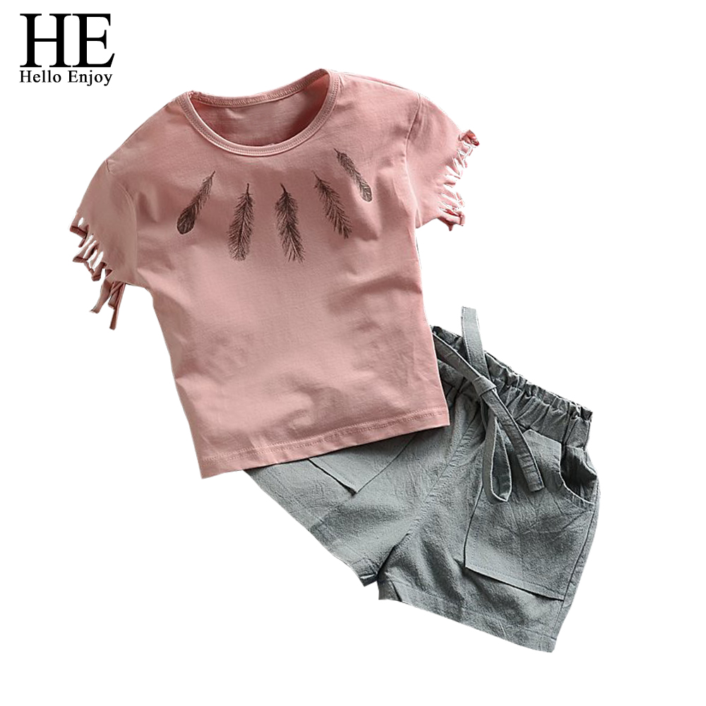 HE Hello Enjoy girls clothing sets summer Fashion New  2017 kids clothes tassel Short-sleeved T-shirt +  pants clothing sets купить