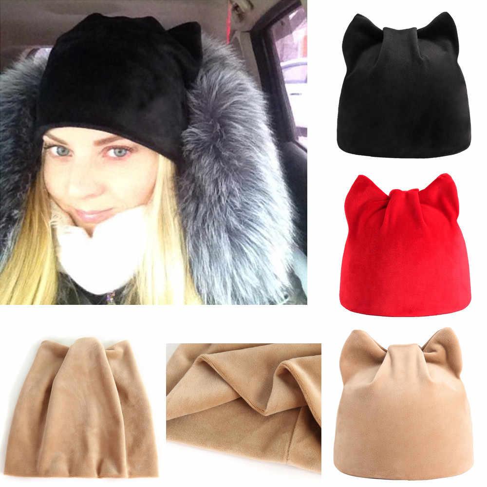 cf4534affd331 KANCOOLD 2018 Fashion Women Baggy Warm Warm Cat Hats Earmuffs Hat Crochet  Winter Stylish Ski Beanie
