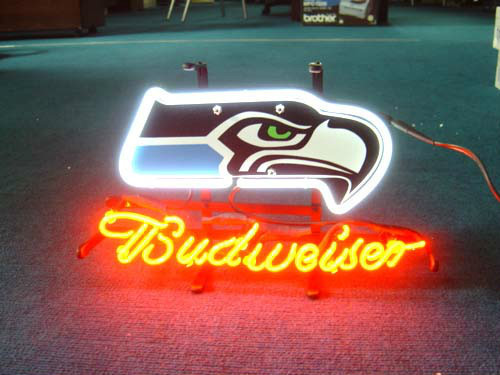 Custom Business NEON SIGN board For SEATTLE SEAHAWKS FOOTBALL REAL GLASS Tube BEER BAR PUB Club Shop Light Signs 17*14 image