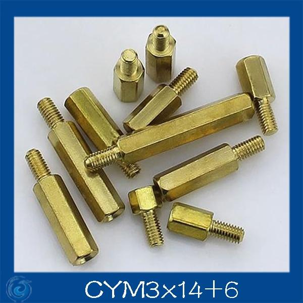 Free shipping M3*14+6mm Column M3 Single head angle of six pillars/Brass screw/Six angle separation column/M3-Series Screw cap