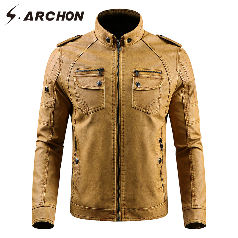 S.ARCHON Winter PU Leather Warm Jacket Men Windbreaker Tactical Leather Motorcycle Jacket Coat Faux Leather Stand Collar Jacket