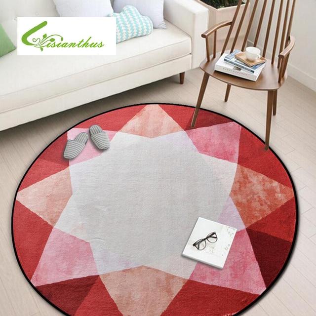 Round Rug Carpet Geometric Print Carpets Anti slip Kitchen Floor Mat ...