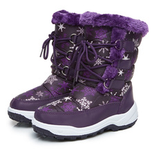 Mioigee 2018 зима Водонепроницаемый Девичьи зимние сапоги детская обувь Теплый плюш теплые хлопковые сапоги для девочек с шерстяной подкладкой