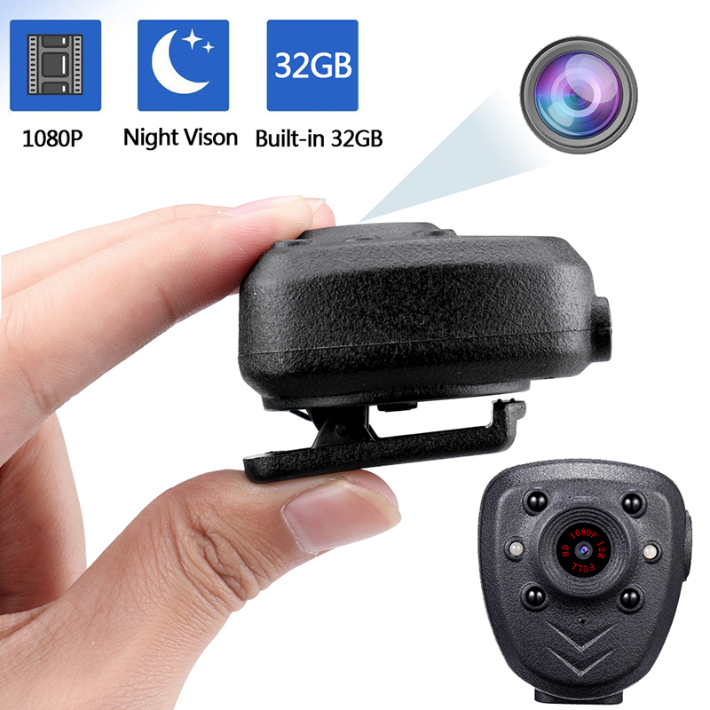 Full HD 1080P Police Body Lapel Worn Video Camera DVR IR Night Vision LED Light Cam Digital Mini DV Recorder Voice 32G TF Card_5